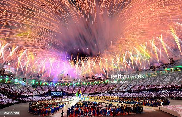 Fireworks explode over the stadium during the Closing Ceremony on Day 16 of the London 2012 Olympic Games at Olympic Stadium on August 12, 2012 in...