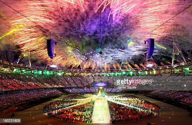 Fireworks explode over the stadium during the Closing Ceremony on Day 16 of the London 2012 Olympic Games at Olympic Stadium on August 12 2012 in...