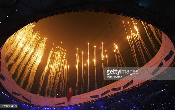 Fireworks explode over the stadium during the Opening Ceremony for the 2008 Paralympic Games at the National Stadium on September 6 2008 in Beijing...