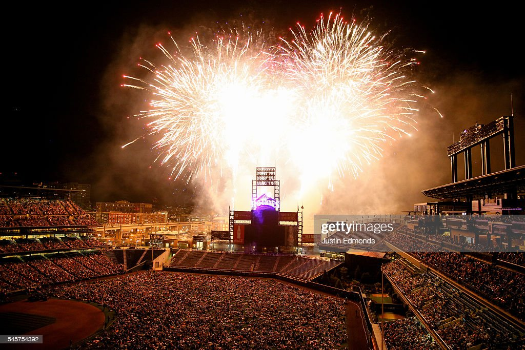 Fireworks explode over the stadium following a game between the Philadelphia Phillies and Colorado Rockies at Coors Field on July 9, 2016 in Denver, Colorado. The Rockies defeated the Phillies 8-3.