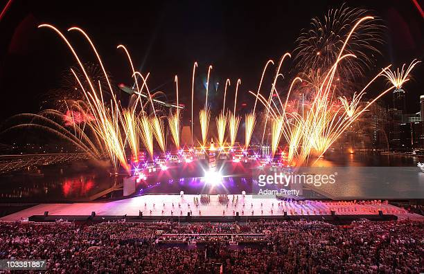 Fireworks explode over the Youth Olympic Flame during the Opening Ceremony of the 2010 Youth Olympics at The Float@Marina Bay on August 14 2010 in...