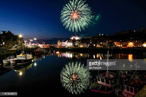Fireworks explode over Whitby harbour during the finale of the annual Whitby Regatta on August 12 2019 in Whitby England At over 170 years old the...