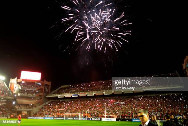 Fireworks explode prior a second leg match between Independiente and Libertad as part of the semifinals of Copa CONMEBOL Sudamericana 2017 at...