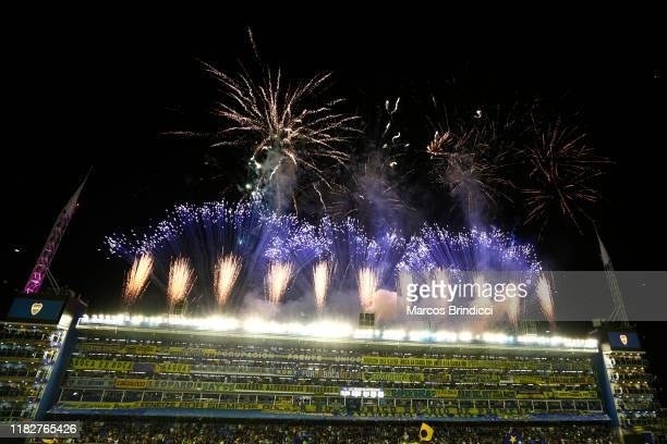 Fireworks explode prior the Semifinal second leg match between Boca Juniors and River Plate as part of Copa CONMEBOL Libertadores 2019 at Estadio...