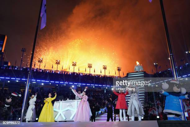 Fireworks explodes after the Paralympic cauldron is lit during the opening ceremony of the PyeongChang 2018 Paralympic Games at the PyeongChang...