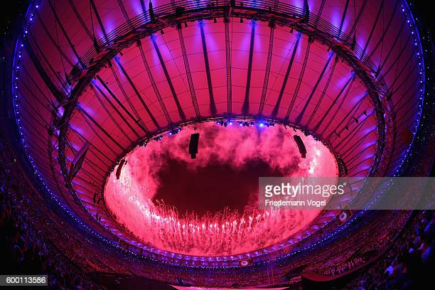 Fireworks exploding during the Opening Ceremony of the Rio 2016 Paralympic Games at Maracana Stadium on September 7 2016 in Rio de Janeiro Brazil