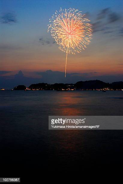 Fireworks exploding in sky, long exposure, Kamakura city, Kanagawa prefecture, Japan