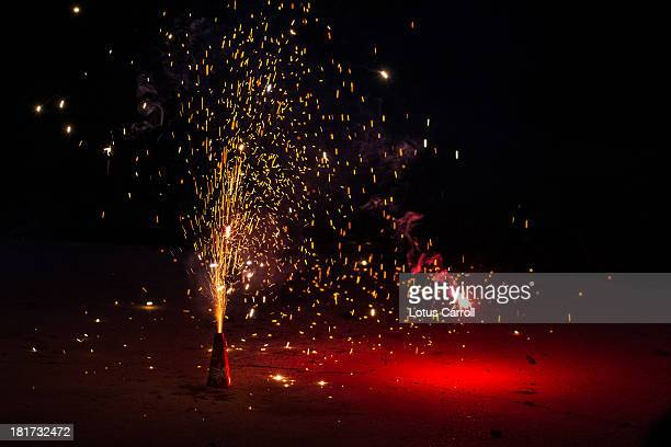 Fireworks Exploding In Sparks