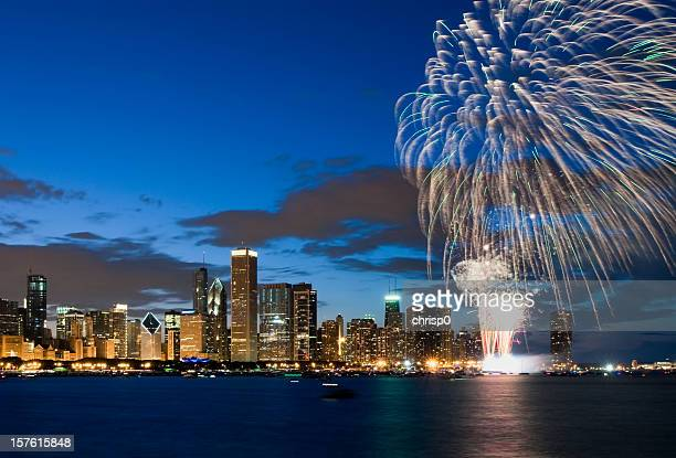 Fireworks exploding over Chicago waterfront
