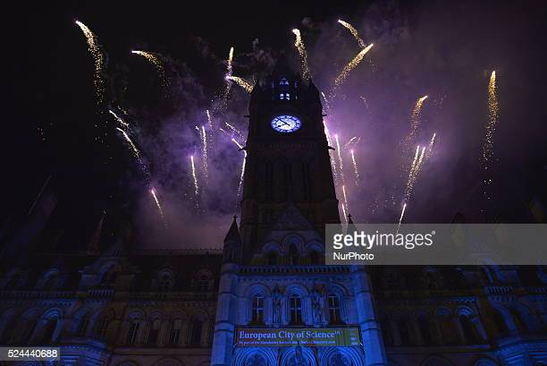 Fireworks exploding over Manchester Town Hall and Albert Square in Manchester England celebrating the Hindu festival of light Diwali Mela on Saturday...