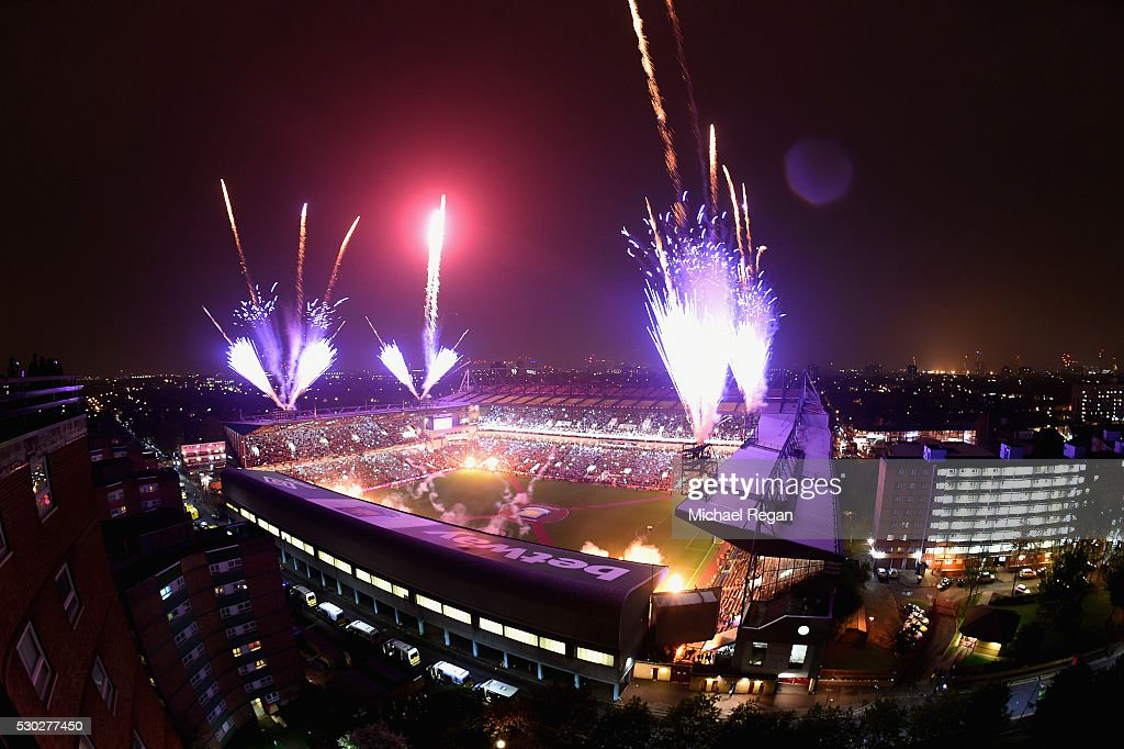 Fireworks expode over the stadium after the Barclays Premier League match between West Ham United and Manchester United at the Boleyn Ground on May 10, 2016 in London, England. West Ham United are playing their last ever home match at the Boleyn Ground after their 112 year stay at the stadium. The Hammers will move to the Olympic Stadium for the 2016-17 season.