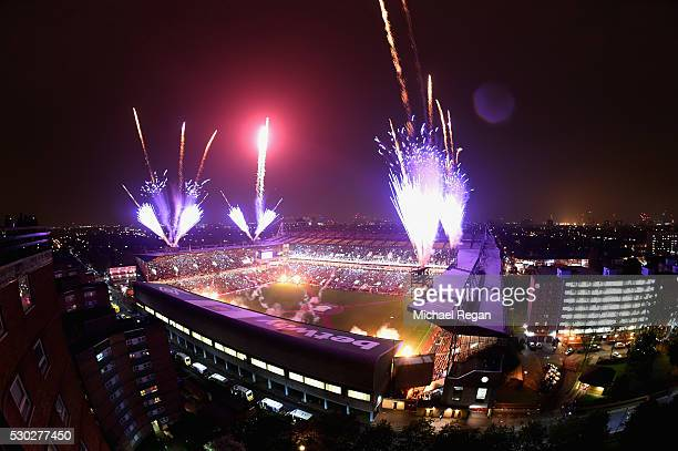 Fireworks expode over the stadium after the Barclays Premier League match between West Ham United and Manchester United at the Boleyn Ground on May...