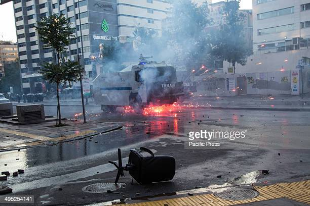 Fireworks fired by the protesters explode underneath an advancing TOMA water cannon vehicle in Ziya Gökalp Street. Violent clashes between protesters...