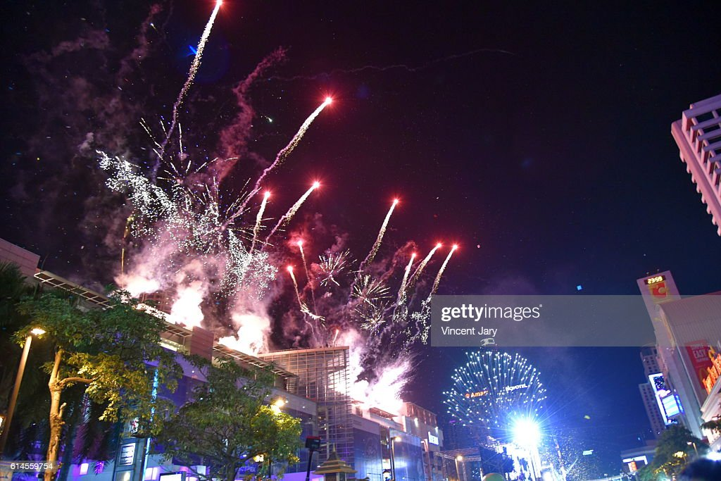 fireworks for happy new year at central world bangkok thailand asia stock photo