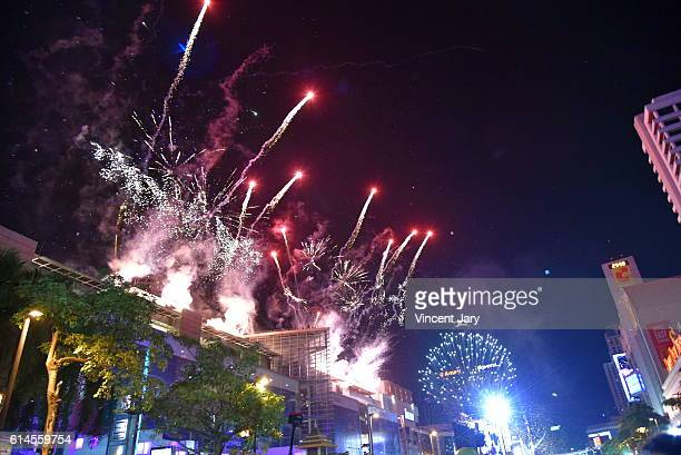 Fireworks for happy new year at Central World Bangkok Thailand, Asia