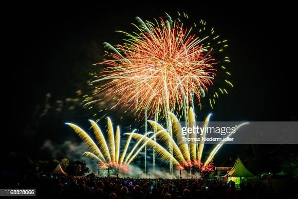 Fireworks from Göteborgs FyrverkeriFabrik Sweden illuminate the sky during the 17th International Fireworks Festival Flammende Sterne on August 18...