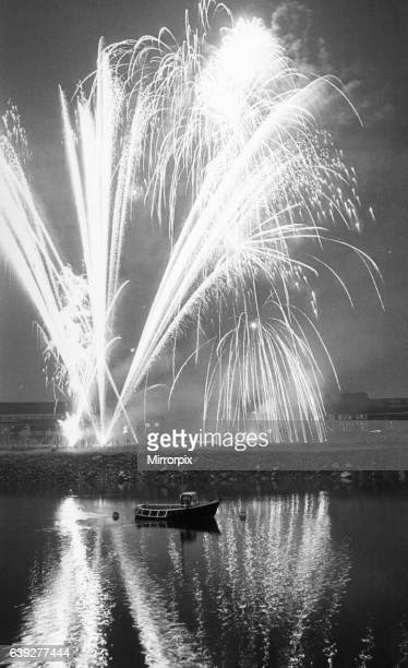 Fireworks from the Stockton annual firework display reflected in the river 4th November 1983