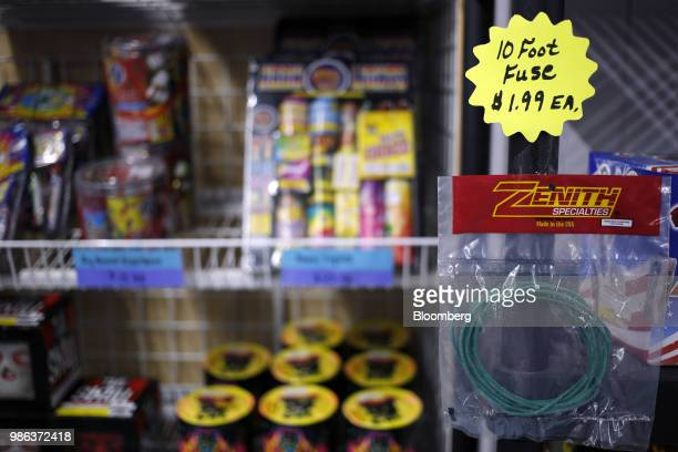 A fireworks fuse is displayed for sale at a store in Muldraugh Kentucky US on Wednesday June 27 2018 According to the American Pyrotechnics...