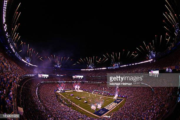 Fireworks go of atop MetLife Stadium prior to the 2012 NFL season opener between the New York Giants and the Dallas Cowboys on September 5 2012 in...