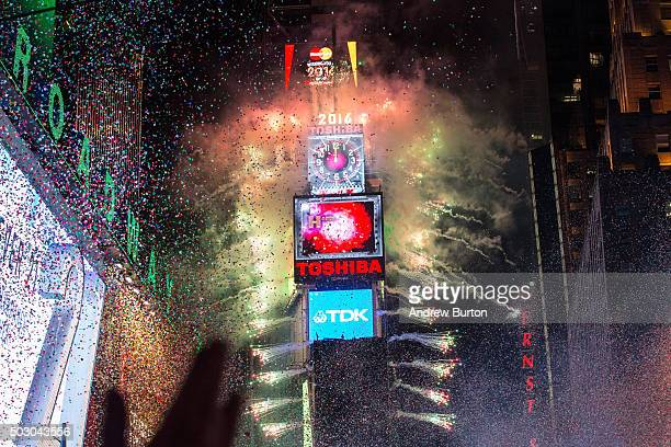 Fireworks go off as the new year is rung in in Times Square on January 1 2016 in New York City The New York City Police Department deployed more than...