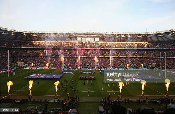 Fireworks go off as the New Zealand All Blacks and Australia teams prepare to line up for the national anthems prior to the 2015 Rugby World Cup...