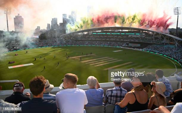 Fireworks go off as the players take to the field during the Hundred match between Oval Invincibles and Manchester Originals at The Kia Oval on July...