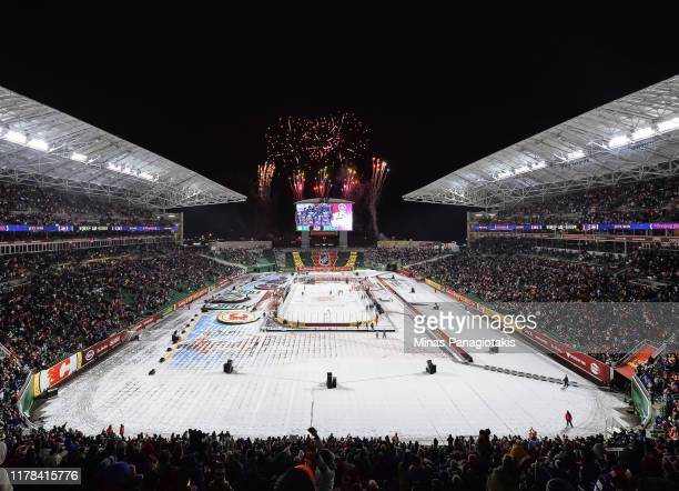 Fireworks go off as the Winnipeg Jets win 2-1 over the Calgary Flames during the 2019 Tim Hortons NHL Heritage Classic at Mosaic Stadium on October...