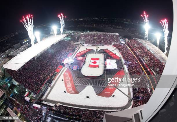 Fireworks go off at Lansdowne Stadium in advance of the 2017 Scotiabank NHL100 Classic at Lansdowne Park on December 16 2017 in Ottawa Canada