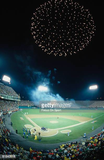 Fireworks go off at Memorial Stadium during the World Series featuring the Baltimore Orioles and the Philadelphia Phillies in Baltimore Maryland in...
