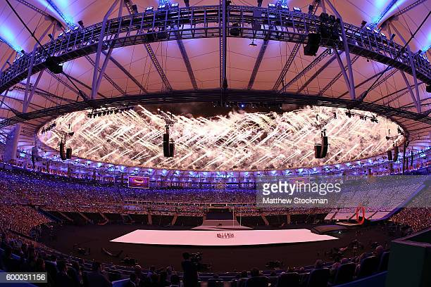 Fireworks go off at the beginning of the Opening Ceremony of the Rio 2016 Paralympic Games at Maracana Stadium on September 7 2016 in Rio de Janeiro...