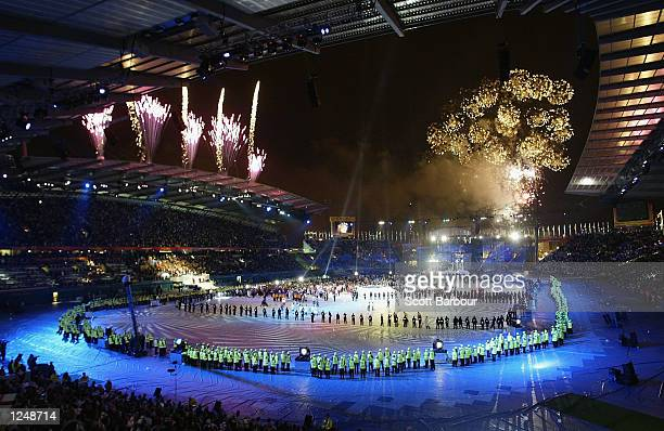 Fireworks go off at the end of the Closing Ceremony of the 2002 Commonwealth Games at the City of Manchester Stadium, Manchester, England on August...