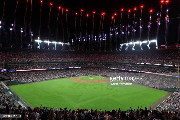 Fireworks go off at the last out of the 91st MLB All-Star Game at Coors Field on July 13, 2021 in Denver, Colorado. The American League defeated the...