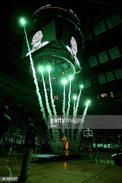 Fireworks go off at the start of Game Two of the 2008 NBA Finals between the Los Angeles Lakers and the Boston Celtics on June 8 2008 at TD Banknorth...