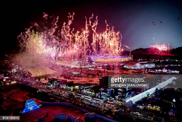 TOPSHOT Fireworks go off at the start of the opening ceremony of the Pyeongchang 2018 Winter Olympic Games at the Pyeongchang Stadium on February 9...