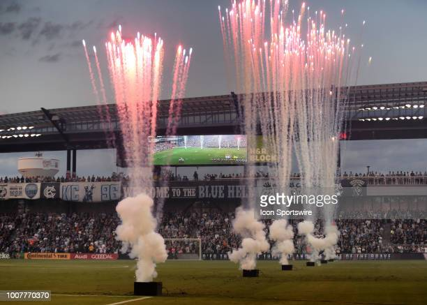 Fireworks go off before an MLS match between FC Dallas and Sporting Kansas City on July 28 2018 at Children's Mercy Park in Kansas City KS