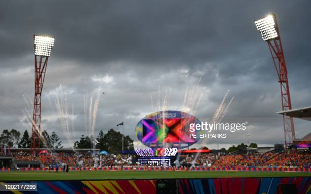 Fireworks go off before the opening match between Australia and India in the women's Twenty20 World Cup cricket tournament at the Sydney Showground...