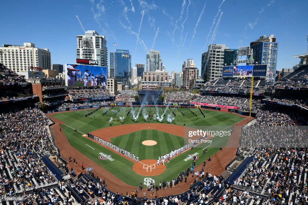 Fireworks go off during pre-game ceremonies on Opening Day between the Milwaukee Brewers and the San Diego Padres at PETCO Park on March 29, 2018 in San Diego, California.