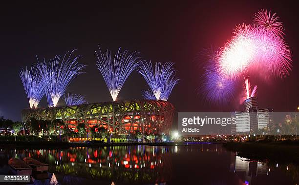 Fireworks go off during the Closing Ceremony for the Beijing 2008 Olympic Games on August 24 2008 in Beijing China