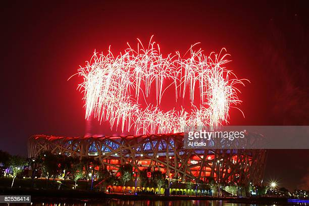 Fireworks go off during the Closing Ceremony for the Beijing 2008 Olympic Games on August 24, 2008 in Beijing, China.
