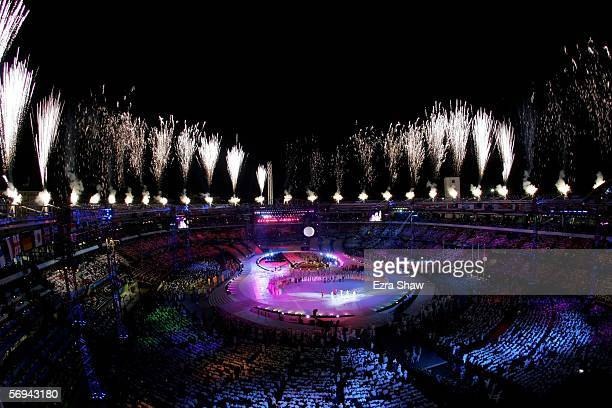 Fireworks go off during the Closing Ceremony of the Turin 2006 Winter Olympic Games on February 26 2006 at the Olympic Stadium in Turin Italy