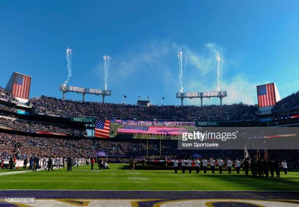 Fireworks go off during the National Anthem prior to the game between the Los Angeles Chargers and the Baltimore Ravens in action on January 6 at MT...