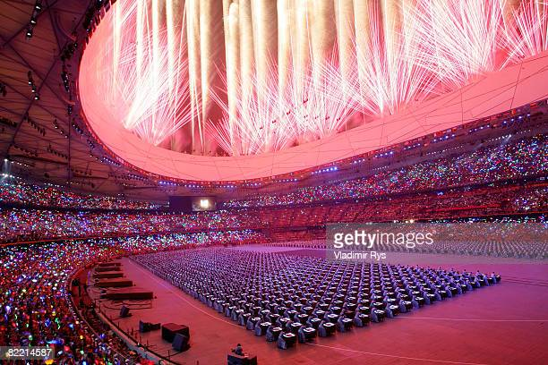 Fireworks go off during the Opening Ceremony for the 2008 Beijing Summer Olympics at the National Stadium on August 8, 2008 in Beijing, China.