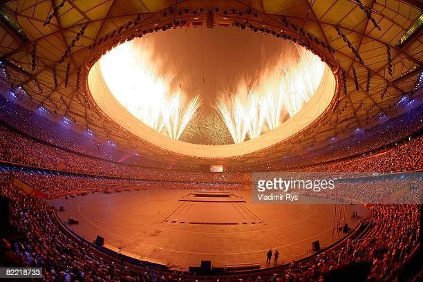 Fireworks go off during the Opening Ceremony for the 2008 Beijing Summer Olympics at the National Stadium on August 8 2008 in Beijing China