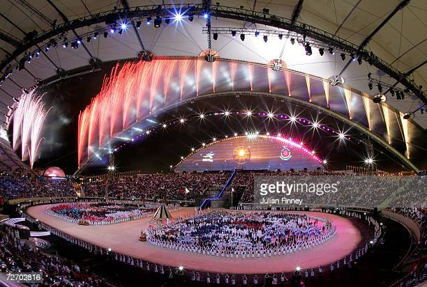 Fireworks go off during the Opening Ceremony of the 15th Asian Games Doha 2006 at the Khalifa stadium on December 1, 2006 in Doha, Qatar.