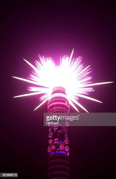 Fireworks go off from the BT Tower to mark 1000 days until the opening ceremony of the London 2012 Olympic Games on October 31 2009 in London England...