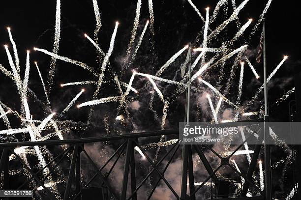 Fireworks go off in the second half during a MidAmerican Conference football game between the Toledo Rockets and Northern Illinois Huskies on...