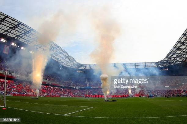 Fireworks go off on the field prior to the Major League Soccer game between New York City and the New York Red Bulls on May 5 at Red Bull Arena in...