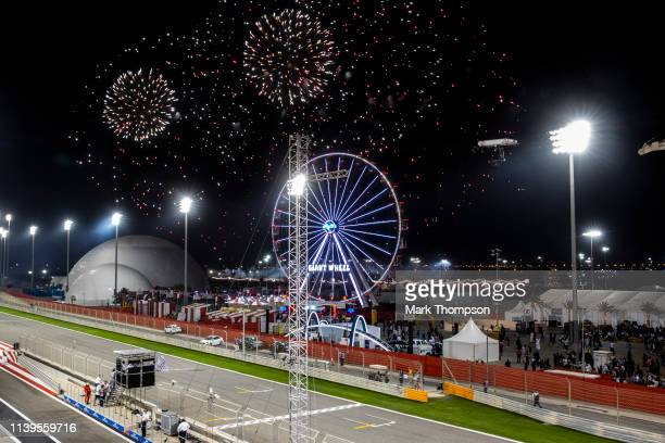Fireworks go off over the circuit at the end of the F1 Grand Prix of Bahrain at Bahrain International Circuit on March 31, 2019 in Bahrain, Bahrain.
