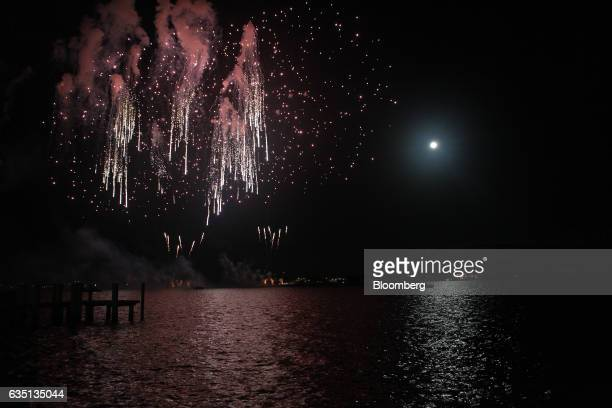 Fireworks go off over the Intracoastal Waterway in Palm Beach Florida US on Saturday Feb 11 2017 There were camels in the sand a gondolier in the...