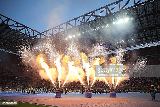 Fireworks go off prior to the UEFA Champions League final match between Real Madrid and Club Atletico de Madrid at Stadio Giuseppe Meazza on May 28...